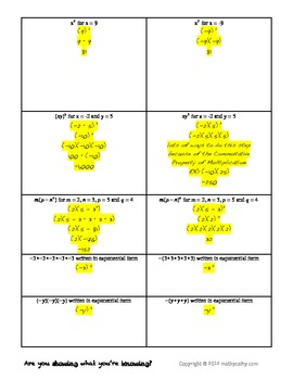 Impressions with Expressions Parallel Practice Exponents and Order of Operations