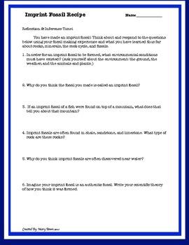 Imprint Fossil Activity (Recipe form & Digging Deep Common Core Questions)