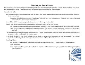 Impromptu Speaking Activities