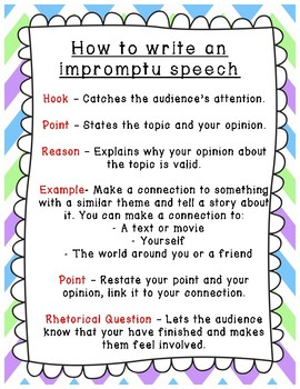 Impromptu Speech Scaffold and Examples