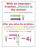 Changing Improper Fractions to Mixed Numbers Poster or Desk Aid