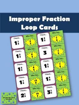 Improper Fraction Loop Cards