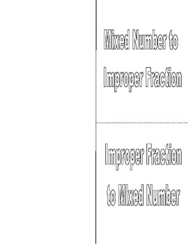 Improper Fraction Mixed Number Conversion Foldable Notes