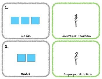 Improper Fraction, Mixed Number, Decimal Matching Game