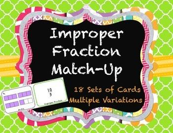 Improper Fraction, Mixed Number, Decimal Match-Up