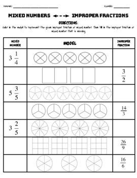 Improper Fraction an Mixed Numbers Modeling Worksheet