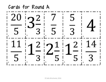 Improper Fraction & Mixed Number Matching Game: Great Math Center!  8 Games!