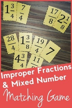 Improper Fraction & Mixed Number Matching Game: Math Center, Montessori Game