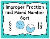 Improper Fraction and Mixed Number Sort