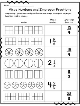 Improper Fraction and Mixed Number Worksheets by The Wild Side of ...