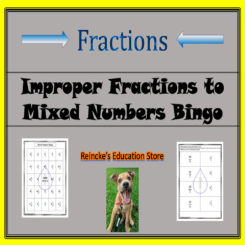 Improper Fraction to Mixed Number Bingo (30 pre-made cards!)