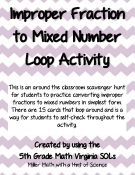 Improper Fraction to Mixed Number Loop Activity