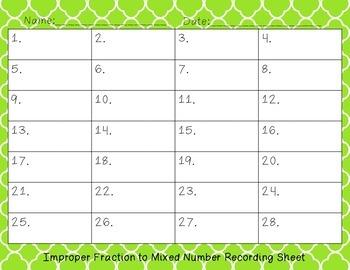 Improper Fraction to Mixed Number Task Card