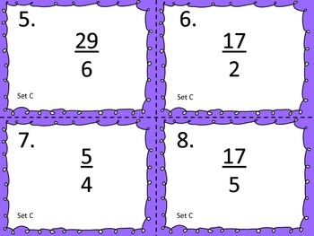 Improper Fraction to Mixed Number--Task Cards
