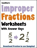 Converting Improper Fractions to Mixed Numbers Matching Worksheets