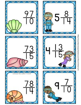 Improper Fractions to Mixed Numbers Task Cards