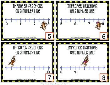 Improper Fractions on a Number Line - Task Cards