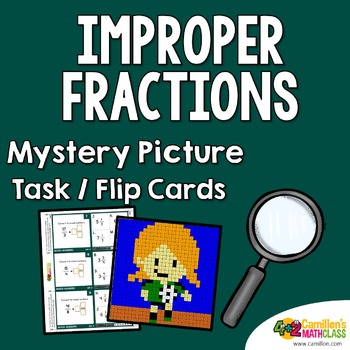 Improper Fractions Mystery Pictures Task Cards/Flip Cards