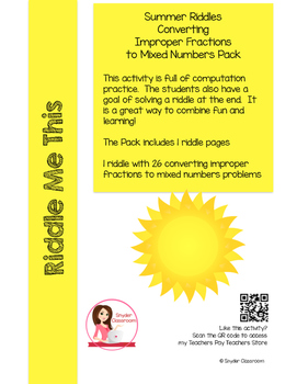 Summer Converting Mixed Numbers and Improper Fractions Math Riddles