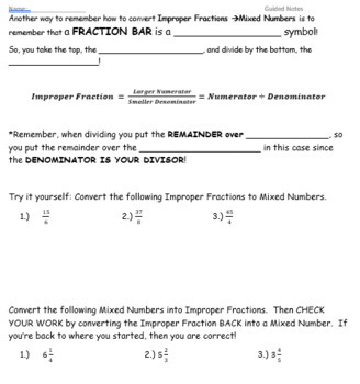 Improper Fractions GUIDED NOTES