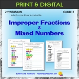 Improper Fractions & Mixed Numbers - 2 Worksheets - Grade 3 - CCSS