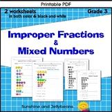 Improper Fractions & Mixed Numbers - 2 Worksheets - Grade 3 - CCSS - DL