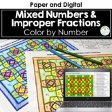 Improper Fractions & Mixed Numbers Color by Number (Fall Colors)