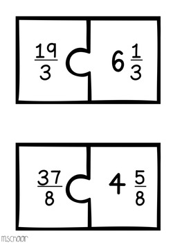 Improper Fractions & Mixed Numbers Match Up