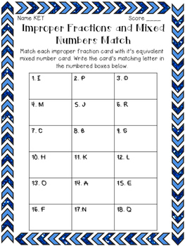 Improper Fractions & Mixed Numbers: Match Up