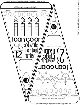 Improper Fractions and Mixed Numbers Pennant {holiday themed}