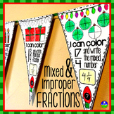 Improper Fractions and Mixed Numbers Pennant with a holiday theme