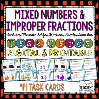Improper Fractions & Mixed Numbers Task Cards