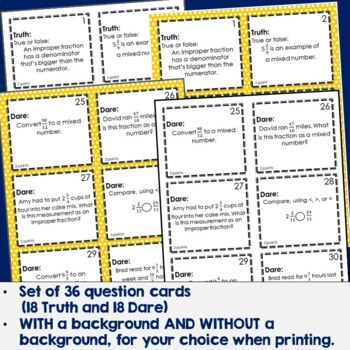 Improper Fractions & Mixed Numbers Truth or Dare Review Game