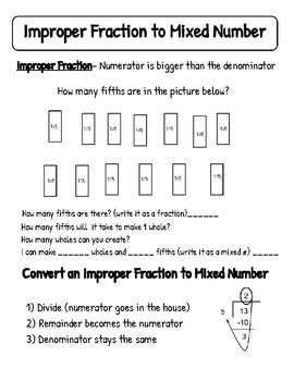 Improper Fractions Mixed Numbers notes