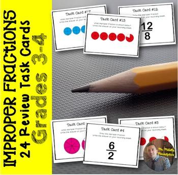 Improper Fractions Task Cards: Set of 24 for Grades 3-4