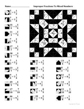Worksheet for Improper Fraction to Mixed Number Conversion