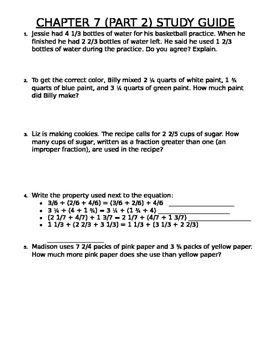 Improper Fractions and Mixed Number Study Guide