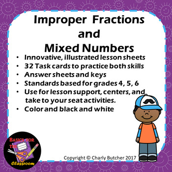 Improper Fractions and Mixed Number Task Cards