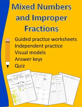 Improper Fractions and Mixed Numbers Lesson and Review Worksheets