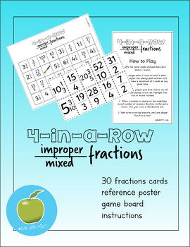 Improper Fractions and Mixed Numbers 4-in-a-Row Game