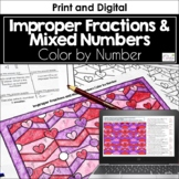 Improper Fractions and Mixed Numbers Color by Number (Valentine)