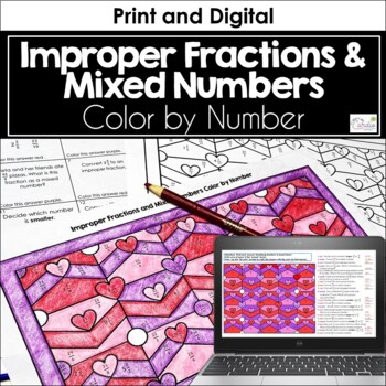 Improper Fractions and Mixed Numbers Valentine Color by Number