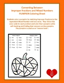 Dollar!  Improper Fractions and Mixed Numbers Coloring Pumpkin