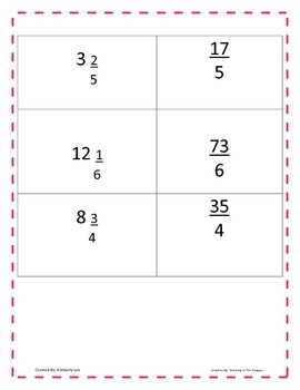 Improper Fractions and Mixed Numbers Concentration {Matching Game}