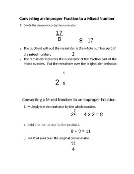 Improper Fractions and Mixed Numbers- Conversion Study Guide