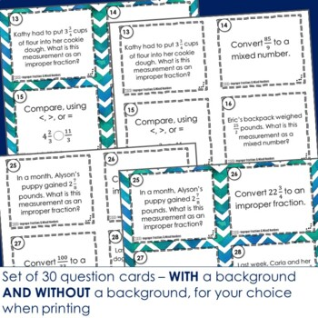 Improper Fractions and Mixed Numbers Task Cards - Footloose Activity