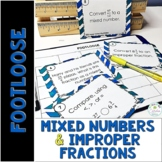 Improper Fractions and Mixed Numbers Task Cards - Footloos