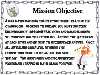 Improper Fractions and Mixed Numbers: Escape Room Math Activity