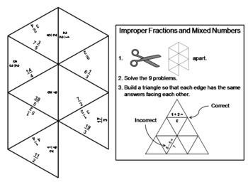 Improper Fractions and Mixed Numbers Game: Math Tarsia Puzzle