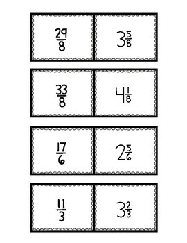 Improper Fractions and Mixed Numbers Matching Card Game